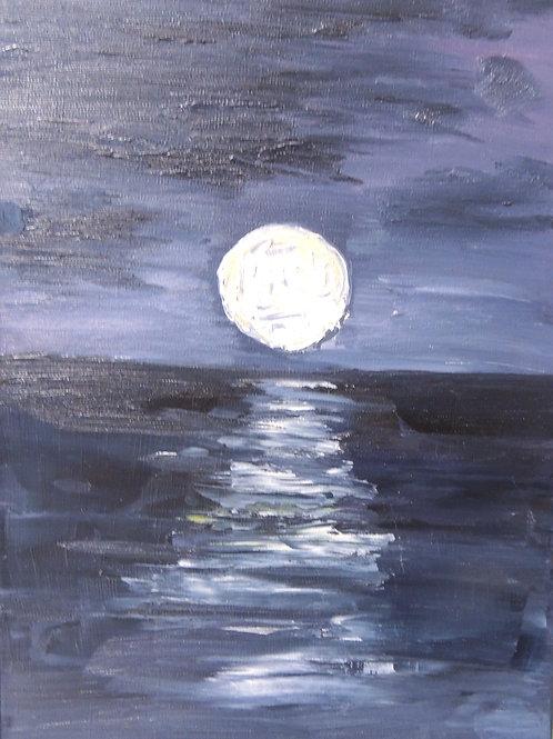 """Картина """"Лунная дорожка"""", холст, масло, 40 х 30"""