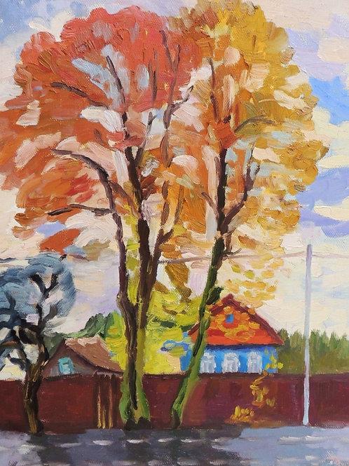 "Картина ""Конец октября"", 60 х 50 см, холст, масло"