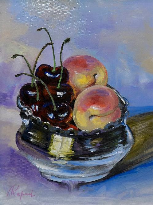 """Картина """"Ваза с фруктами"""", 25х20, холст, масло"""