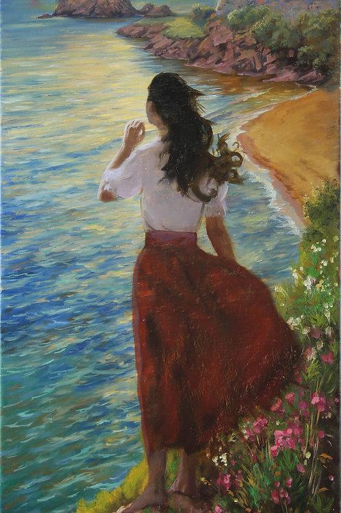 "Картина ""Солнце над морем.Ассоль"", 80 х 35см, холст, масло."