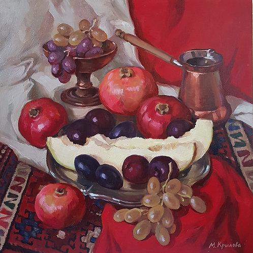"""Картина """"Восточный натюрморт на красном фоне"""" 50 х 50 см. Холст, масло"""