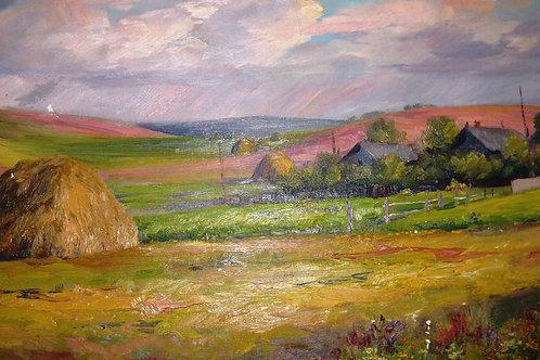 """Картина """"Лето"""", 1956 год, 40 х 85 см, холст, масло"""