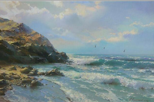 "Картина ""Морской пейзаж"", 60 х 90 см, холст, масло"