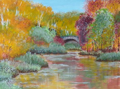 "Картина ""Зеркальный пруд"", 32 х 22 см, темпера"