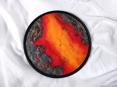 """Картина """"Огонь"""", D40, лмдф, эпоксидная смола, рама черная"""