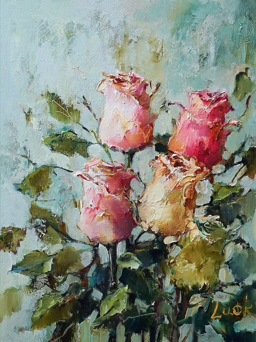 "Картина ""Розы"" 40 х 30 см, холст, масло"