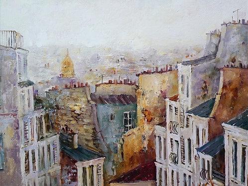 "Картина ""Крыши Парижа"", 30 х 40 см, холст, масло"