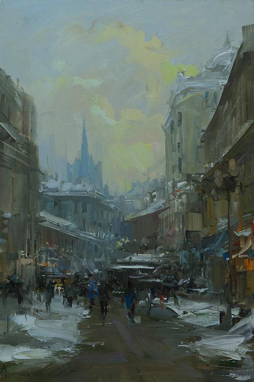 """Картина """"Вид на улицу Старый Арбат"""", 40х60, холст, масло"""