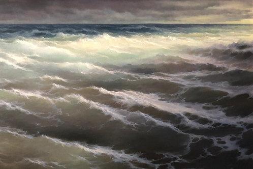"""Картина """"Северное море. У берегов Норвегии"""", 75 х 120 см, холст, масло"""
