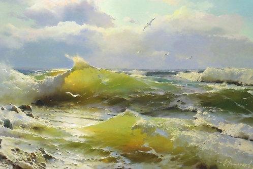 "Картина ""Морской пейзаж"", 70 х 120 см, холст, масло"