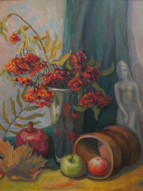 "Картина ""Натюрморт с рябиной"", 60 х 50 см., холст, масло"