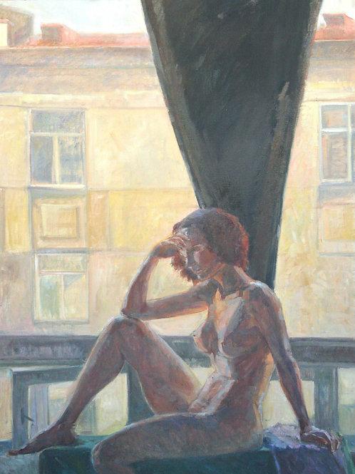 "Картина ""Портрет в контр-ажуре"", 125 х 90 см, холст, масло"