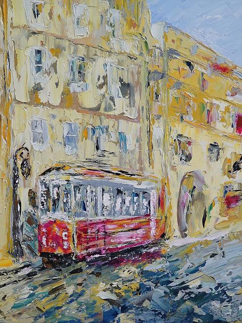 """Картина """"Летний трамвай"""", 50х40, холст, масло"""