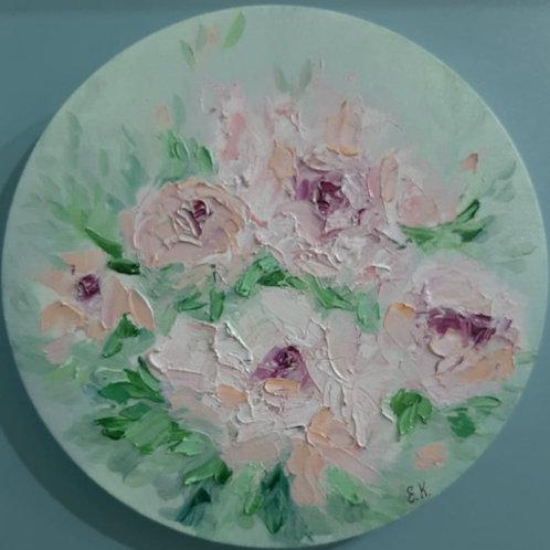 """Картина """"Розы на счастье"""", d-25 см, холст, масло"""