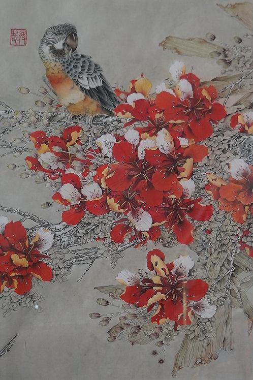 """Картина """"Лети за мной"""", 72 х 52 см, китайская живопись"""