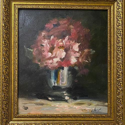 """Картина """"розовые пионы"""", 35 х 30 см, картон, масло"""