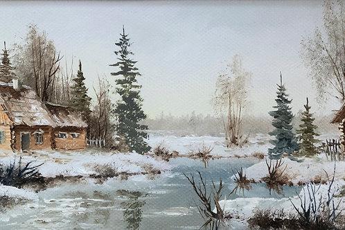 """Картина """"Зимний пейзаж"""", 10 х 20 см, картон, масло"""