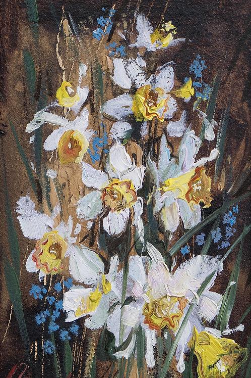 "Картина ""Нарциссы"", 10х15, картон, масло"
