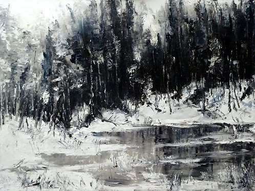 "Картина ""Черно-белая зима"", 80 х 60 см, холст, масло"