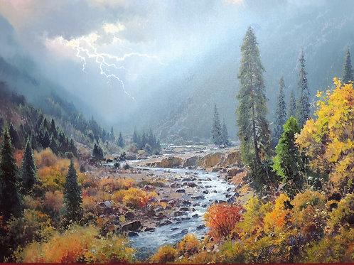 "Картина ""Гроза в горах"", холст, масло, 90 х 130"
