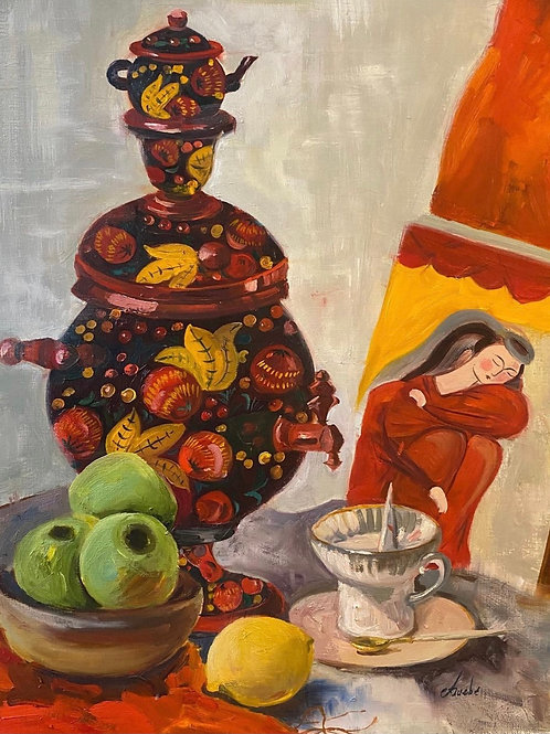 "Картина ""Суздальский самовар"", 50 х 60 см, холст, масло"