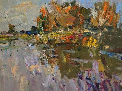 "Картина ""Вечер на реке Оскол"", 60 х 70 см., холст, масло"