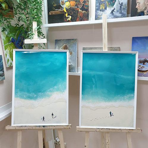 Картина «Морской пейзаж . Сёрфинг », 100 х 70 см, двп, смола, акрил