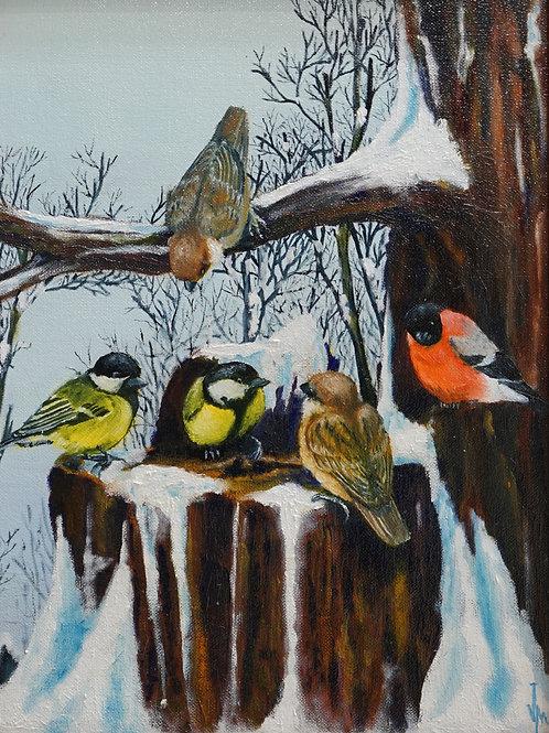 """Картина """"Птичье вече"""", 40х30, холст на картоне, масло"""