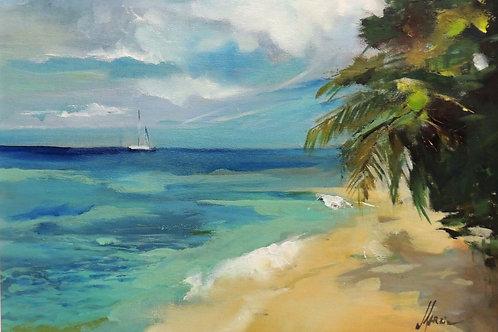 "Картина ""Мальдивы"", 30 х 40 см, холст, масло"