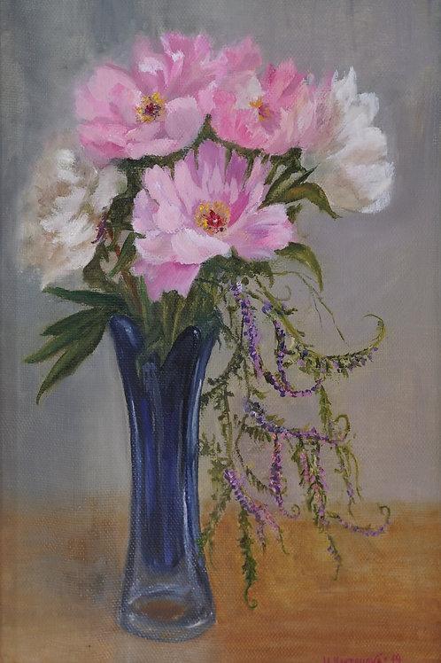 "Картина ""Пионы в синей вазе"", 50х35, холст, масло"