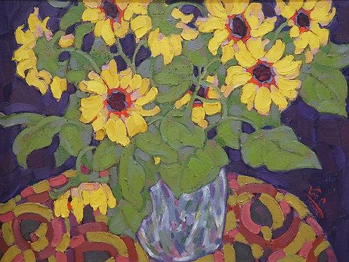 """Картина """"Солнечные цветы"""", 71х52, холст на картоне, масло"""