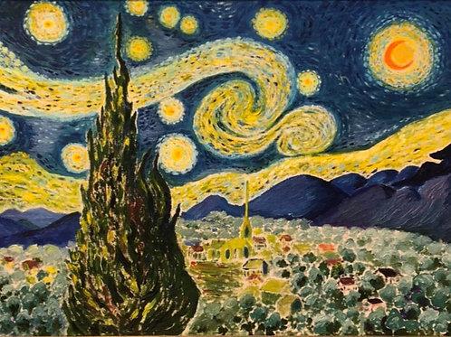 "Картина ""Звездная ночь"", 67 х 86 см, холст, масло"