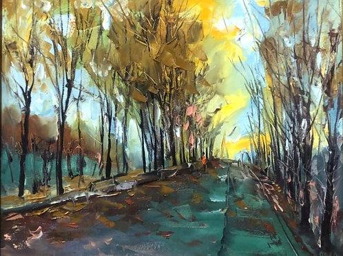 "Картина ""Последние листья"", 40 х 50 см, холст, масло"
