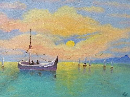 """Картина """"Рыбаки"""", 25 х 35 см, холст, масло"""
