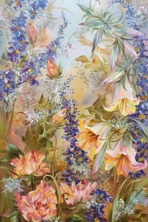 """Картина """"Цветы"""", 100 х 35 см, холст, масло"""