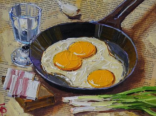 """Картина """"Натюрморт с яичницей"""", 20 х 25 см., холст, масло"""