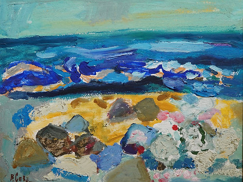 "Картина ""Камни на берегу"", 39 х 50 см., картон, масло"