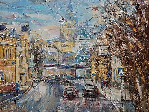 "Картина ""Николоямская ул."", 40х50, холст, масло"