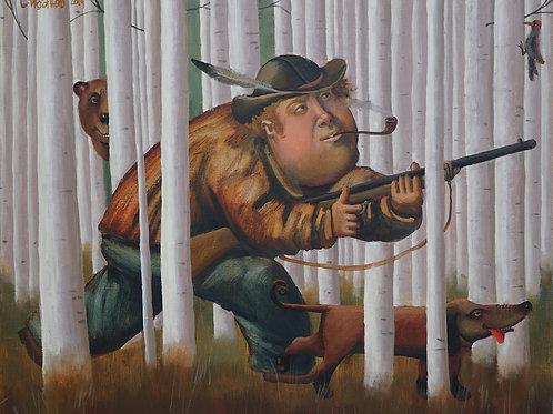 """Картина """"Охота в березах"""", холст, масло"""