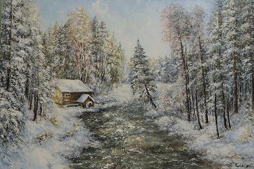 "Картина ""Зима"" 90 х 60 см. Холст, масло."