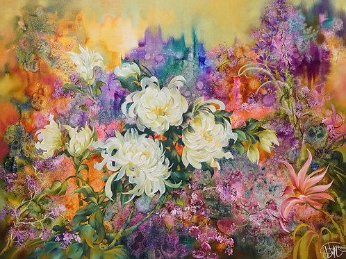 "Картина ""Хризантемы в саду"", 75х100, холст, масло"