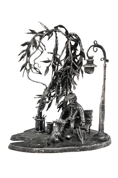 """Скульптура """"Я всегда буду с тобой"""", 27 х 23 см., дерево, проволока, акрил"""