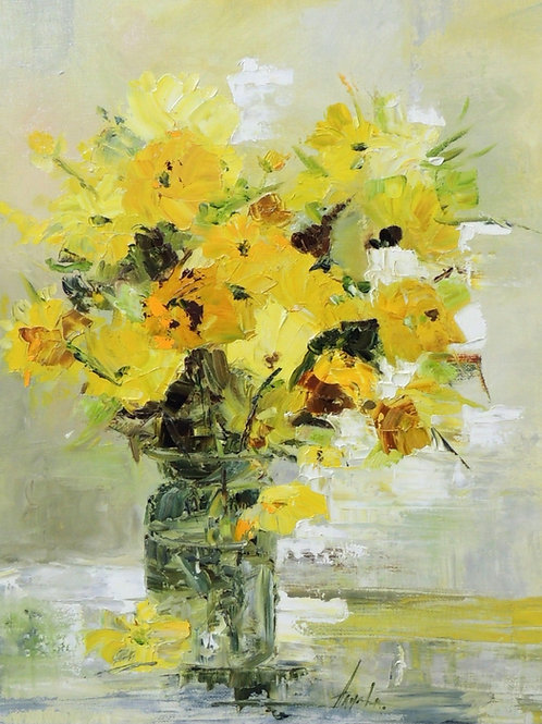 "Картина ""Желтые цветы"", 50 х 60 см, холст, масло"
