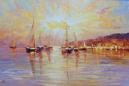 """Картина """"Пейзаж с лодками"""", холст, масло, 60 х 95"""