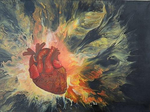 """Картина """"Очаг.Энергия"""" 50 х 70 см, холст, акрил, текстурная паста"""