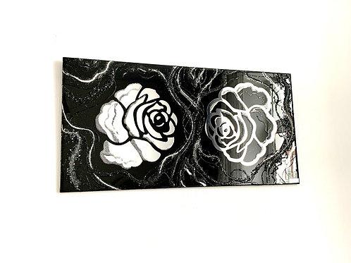 Картина «Цветы», 40 х 70 см, зеркало, акрил, смола