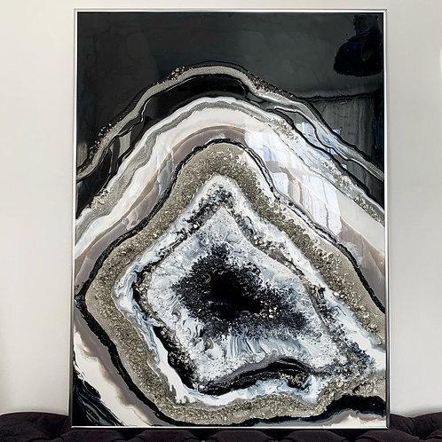 """Картина """"Срез камня в серебре"""" 80,5 х 60,5 см, двп, эпоксидная смола"""