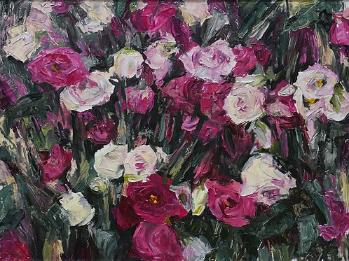 "Картина ""Розы"", 43х35, картон, масло"