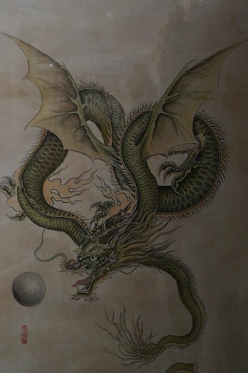 """Картина """"Дракон и жемчужина"""", 68 х 49 см, китайская живопись"""