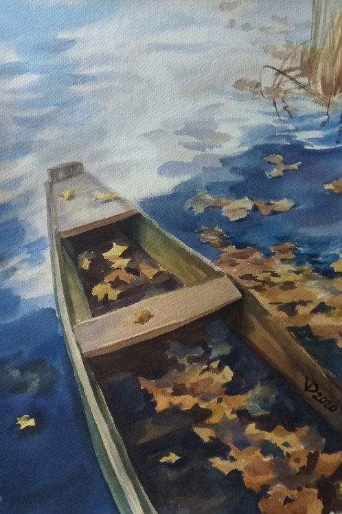 Картина «К осени», 25 х 36 см,  бумага, акварель